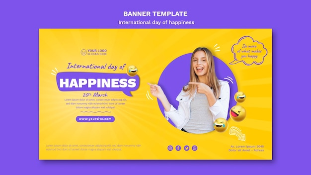 International day of happiness horizontal banner template