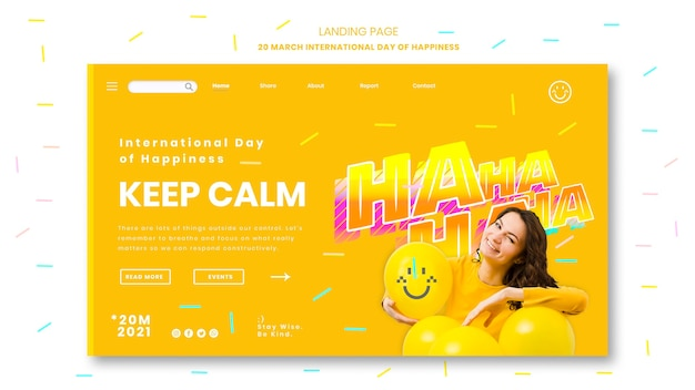 Modello di pagina di destinazione della giornata internazionale della felicità