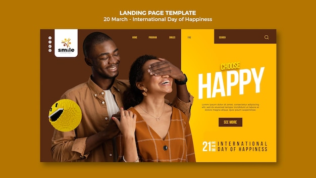 International day of happiness landing page template
