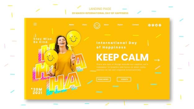 Pagina di destinazione della giornata internazionale della felicità
