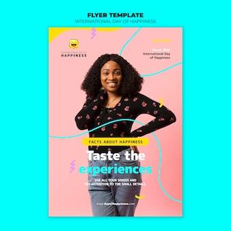 Modello di poster giornata internazionale della felicità con foto