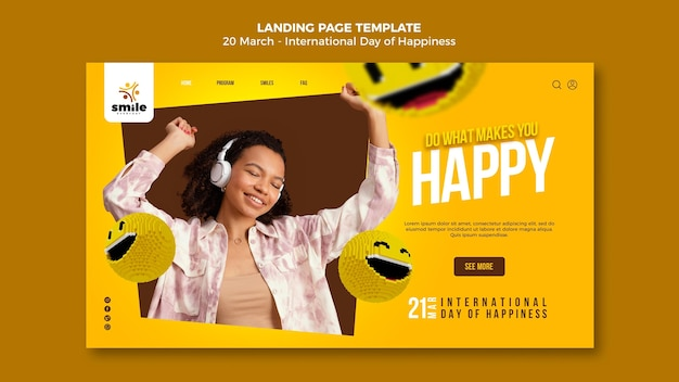 International day of happiness web template
