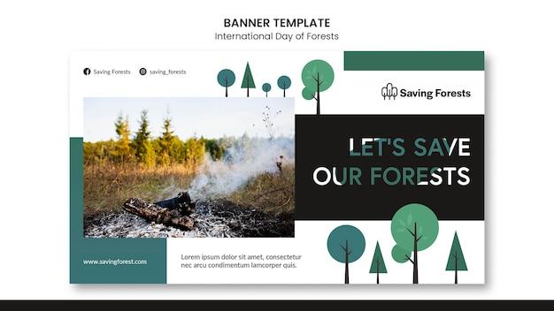 국제 숲 배너 서식 파일의 날 프리미엄 PSD 파일