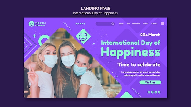 国際幸福デーのwebテンプレート