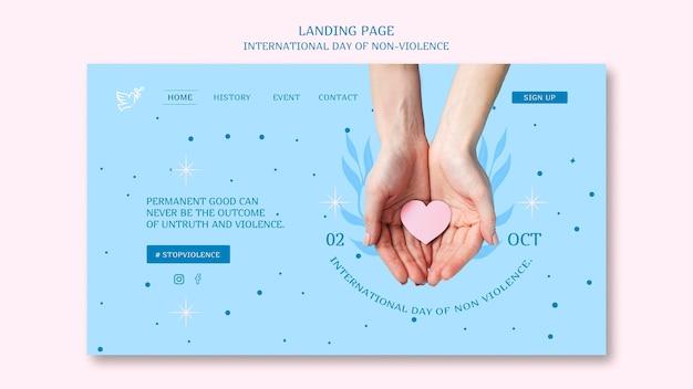 非暴力のランディングページのテーマの国際デー