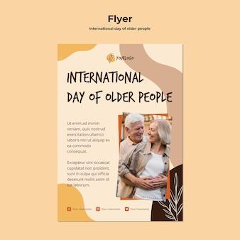 Шаблон плаката международного дня пожилых людей