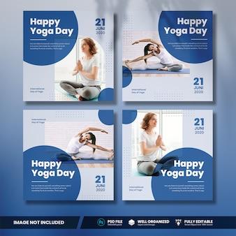 Коллекция баннеров международного дня йоги в социальных сетях