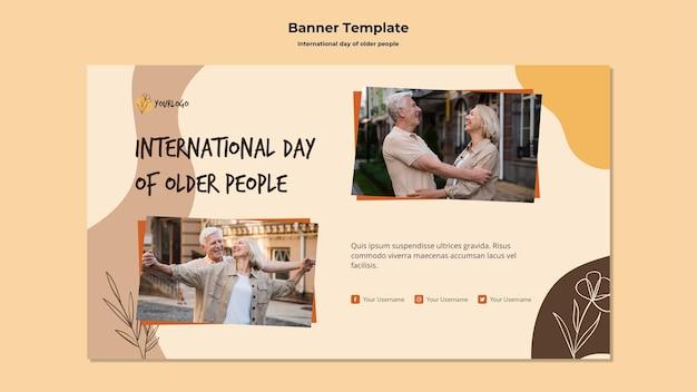 Modello di banner pubblicitario giornata internazionale degli anziani
