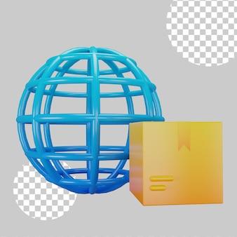 Концепция международной доставки 3d иллюстрация Premium Psd
