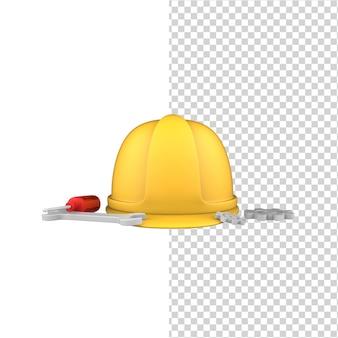 Международный день труда 3d защитный шлем, отвертка и гаечный ключ