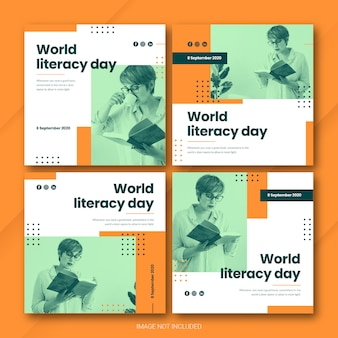 International literacy day instagram post bundle template premium psd