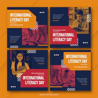 国際識字デーのinstagram投稿バンドルテンプレートプレミアムpsd
