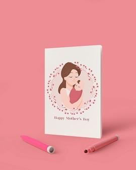 목업 국제 어머니의 날 축하 카드