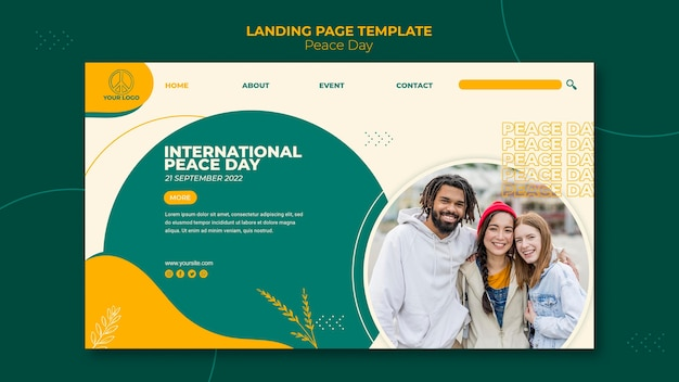 International peace day landing page template