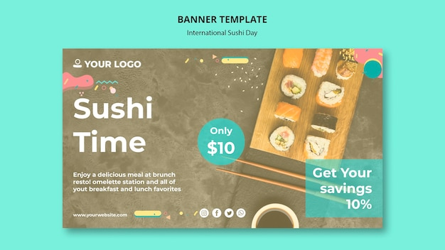 International sushi day banner template