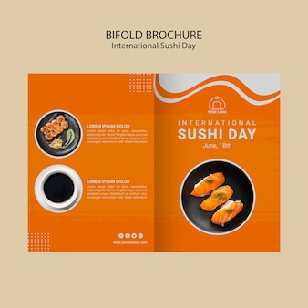 International sushi day bifold brochure template