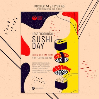 International sushi day flyer template Free Psd
