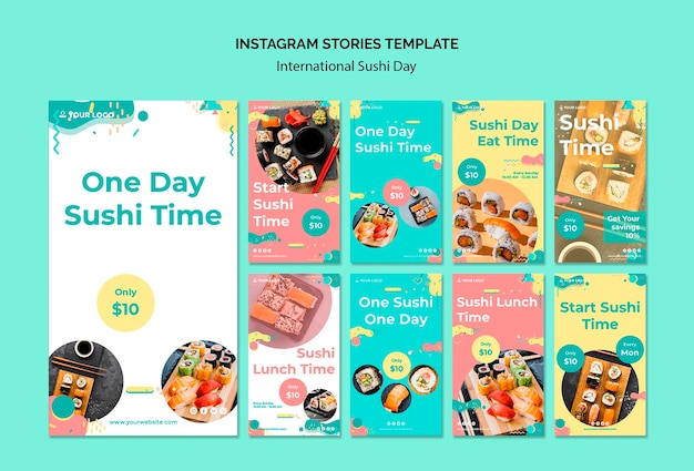 Шаблон рассказов в международный день суши в instagram