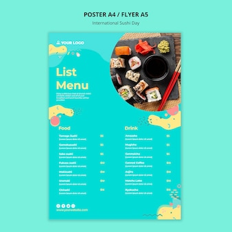 International sushi day menu template