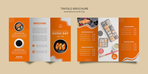International sushi day trifold brochure template