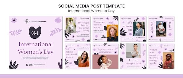 Сообщение в социальных сетях о международном женском дне