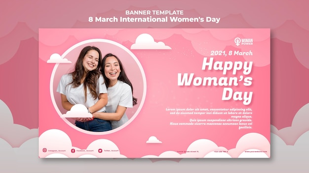 International women's day banner template