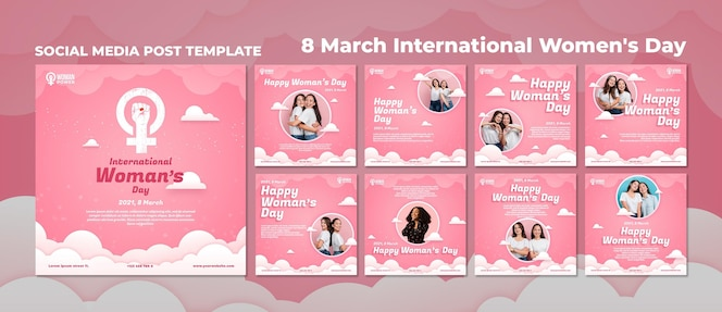 International women's day instagram posts template