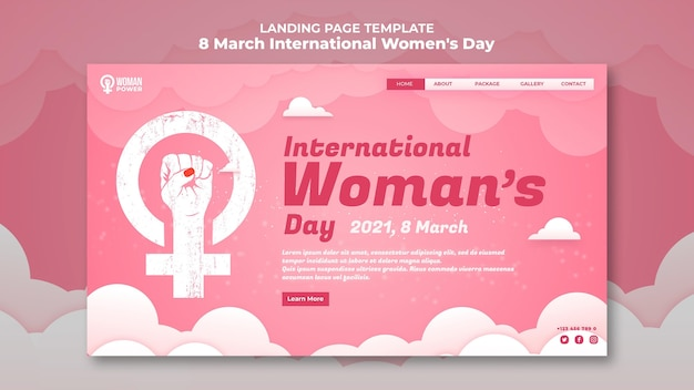 International women's day landing page