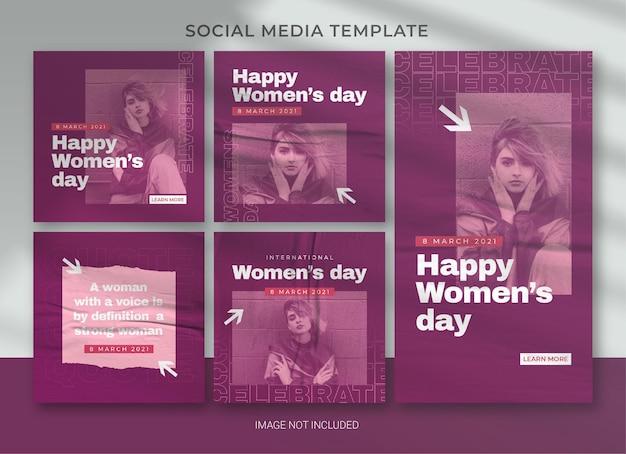 국제 여성의 날 소셜 미디어 팩 번들 템플릿 디자인