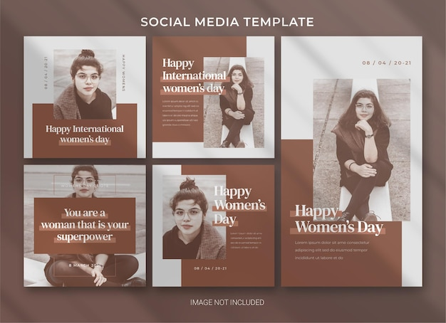 International women's day social media pack bundle template design