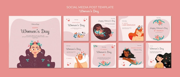 International women's day social media posts template