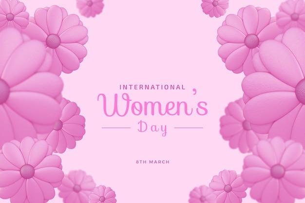 Международный женский день с любовью 3d рендеринг макет
