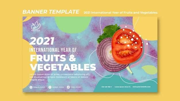 Modello di banner anno internazionale di frutta e verdura