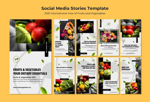 International year of fruits and vegetables instagram stories pack