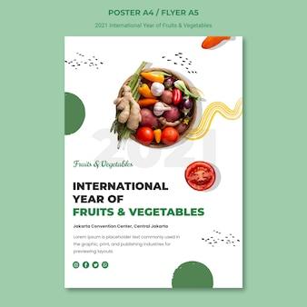 Modello di poster anno internazionale di frutta e verdura