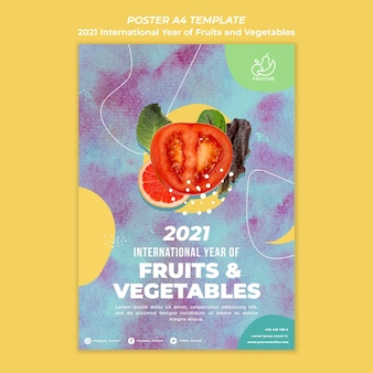 International year of fruits and vegetables poster template