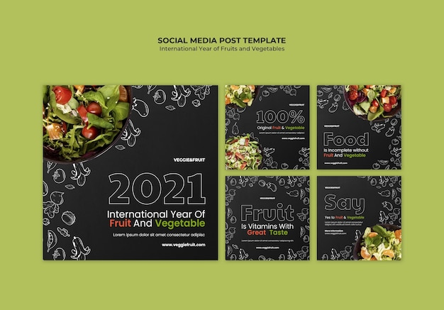 Сообщение в социальных сетях о международном году фруктов и овощей