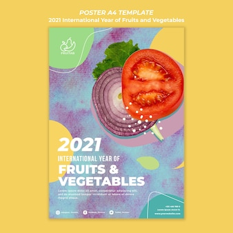 果物と野菜のチラシテンプレートの国際年