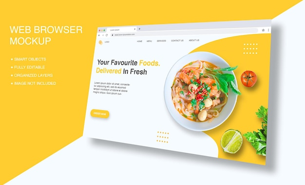 Internet browser window for landing page mockup