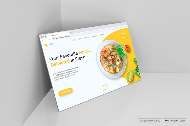 Internet browser window for landing page mockup