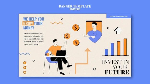 Иллюстрированный шаблон инвестиционного баннера