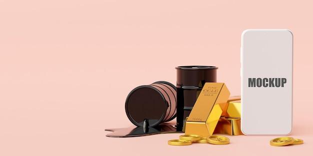 Инвестиционная концепция, макет смартфона с золотыми слитками и баррель нефти