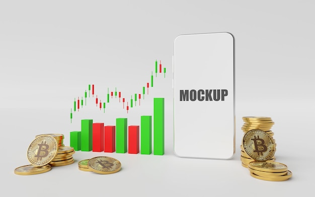 Investment concept with mockup of smartphone in 3d rendering