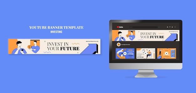 Modello di banner youtube di investimento illustrato
