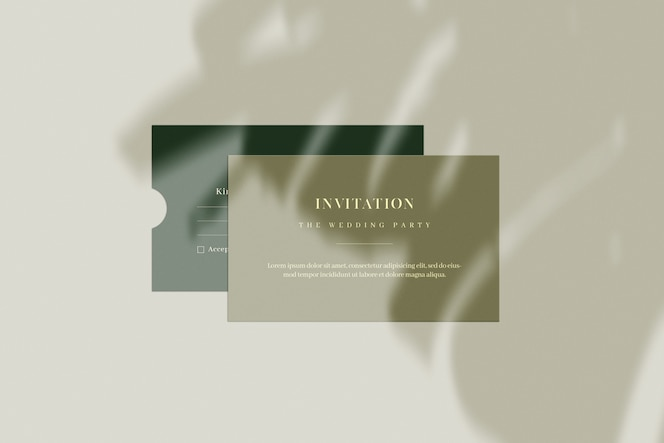 Invitation card and envelope with plant shadow