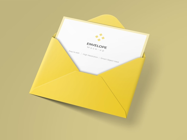 Invitation card mockup on open envelope