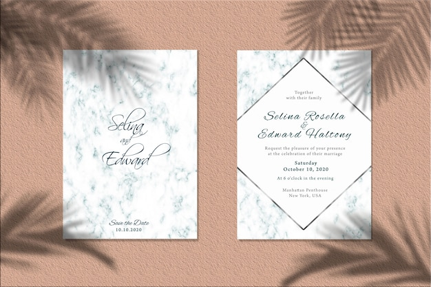 Invitation card mockup with palm leaves shadow