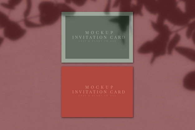Invitation card mockup with shadow overlay. template for for presentation. 3d rendering