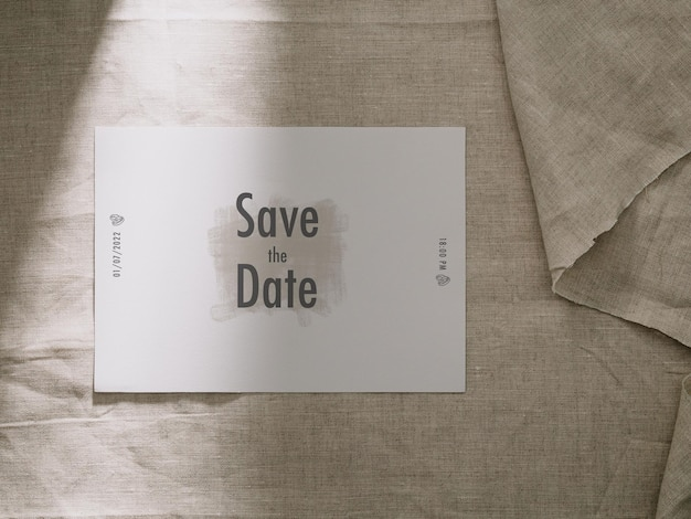 Invitation card template, wedding card mockup, 5x7 minimalist stationery mock-up.