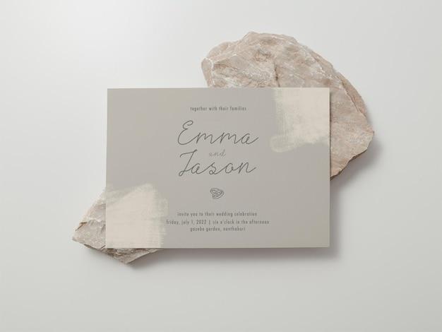 초대장 템플릿, 웨딩 카드 모형, 5x7 미니멀리스트 문구 모형.